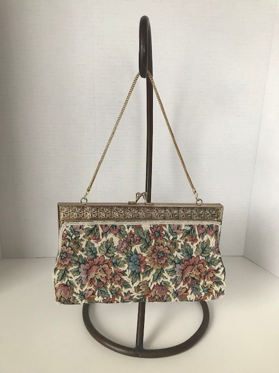 Vintage Beaded Tapestry Hand Bag with Snake Chain