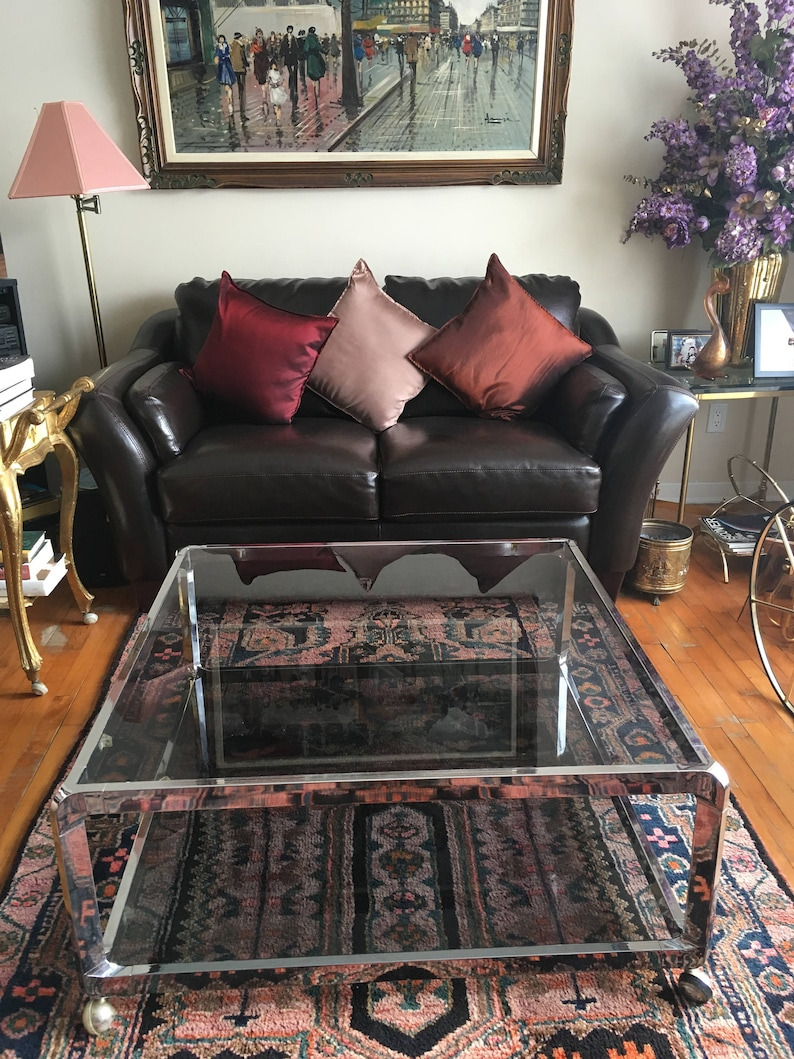 Vintage Mid Century Modern Chrome And Smoked Glass Two Tier Coffee Table With Casters 1970s Willy Rizzo Maison Jansen Era