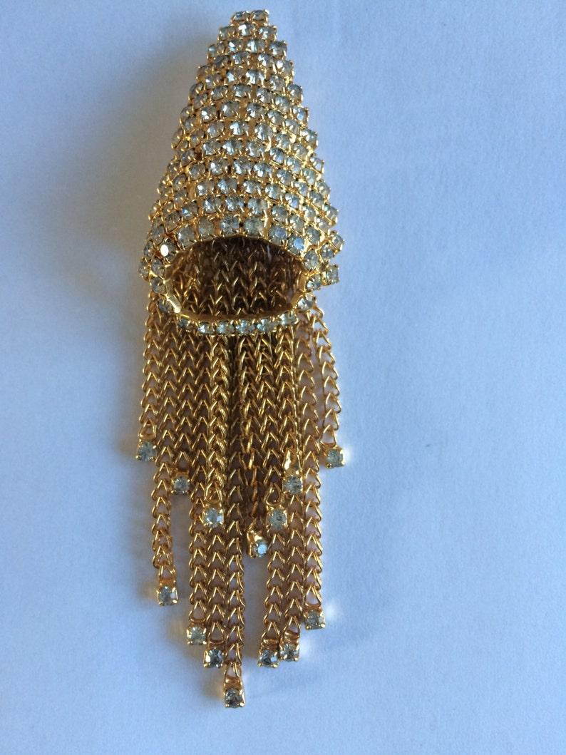 Vintage 1930s Art Deco Diamante Rhinestone Tassel Pendant