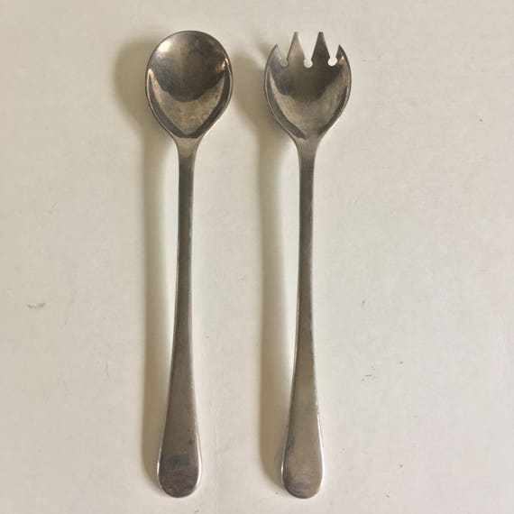 Vintage Silver Plate Salad Serving Fork and Spoon, Salad Utensils, Serving Spoon, Serving Fork, Pasta Utensils