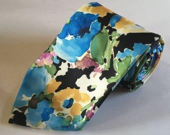 Vintage 1980s Floral Pattern Wide Tie Polyester - Husband Gift, Dad Gift, Boyfriend Gift