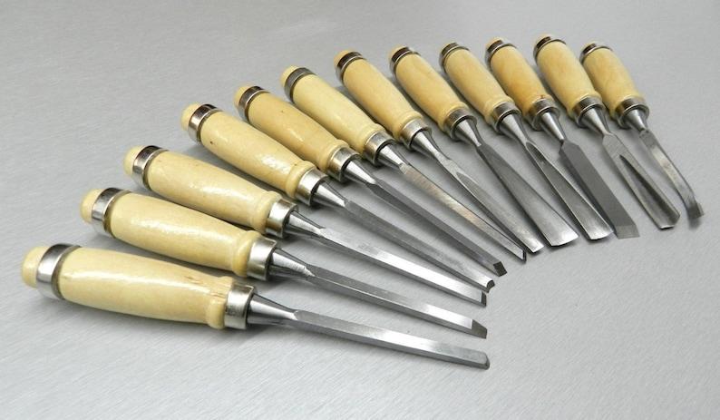 2Pcs Wood Carving Hand Chisel Carver Woodworking Lathe Tool Set Gouges with Bag