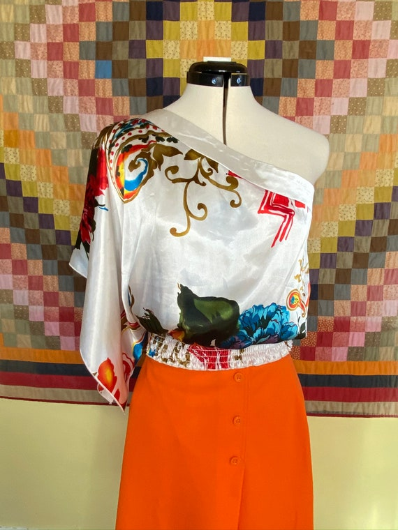 1980s off the shoulder blouse , smocked waistband