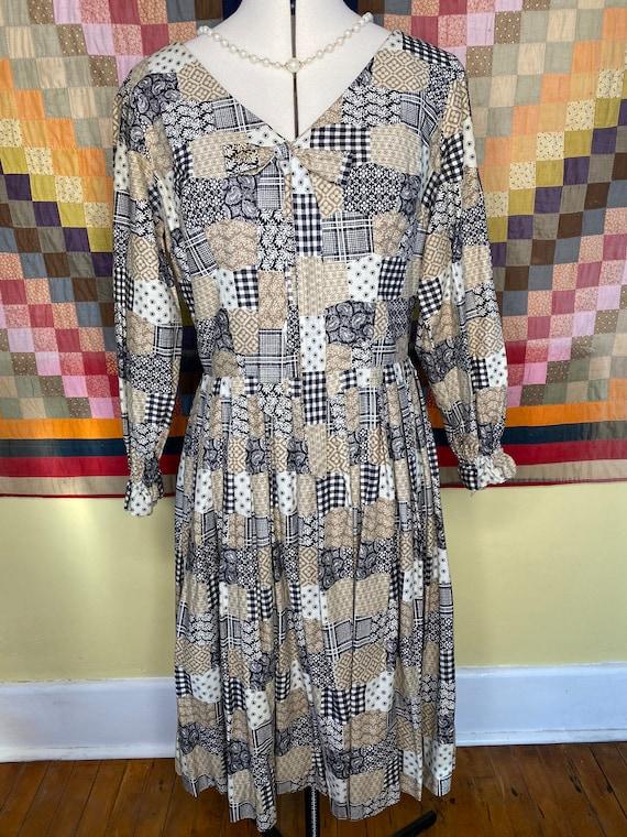 1960s patchwork print handmade dress, v-neck bow … - image 1