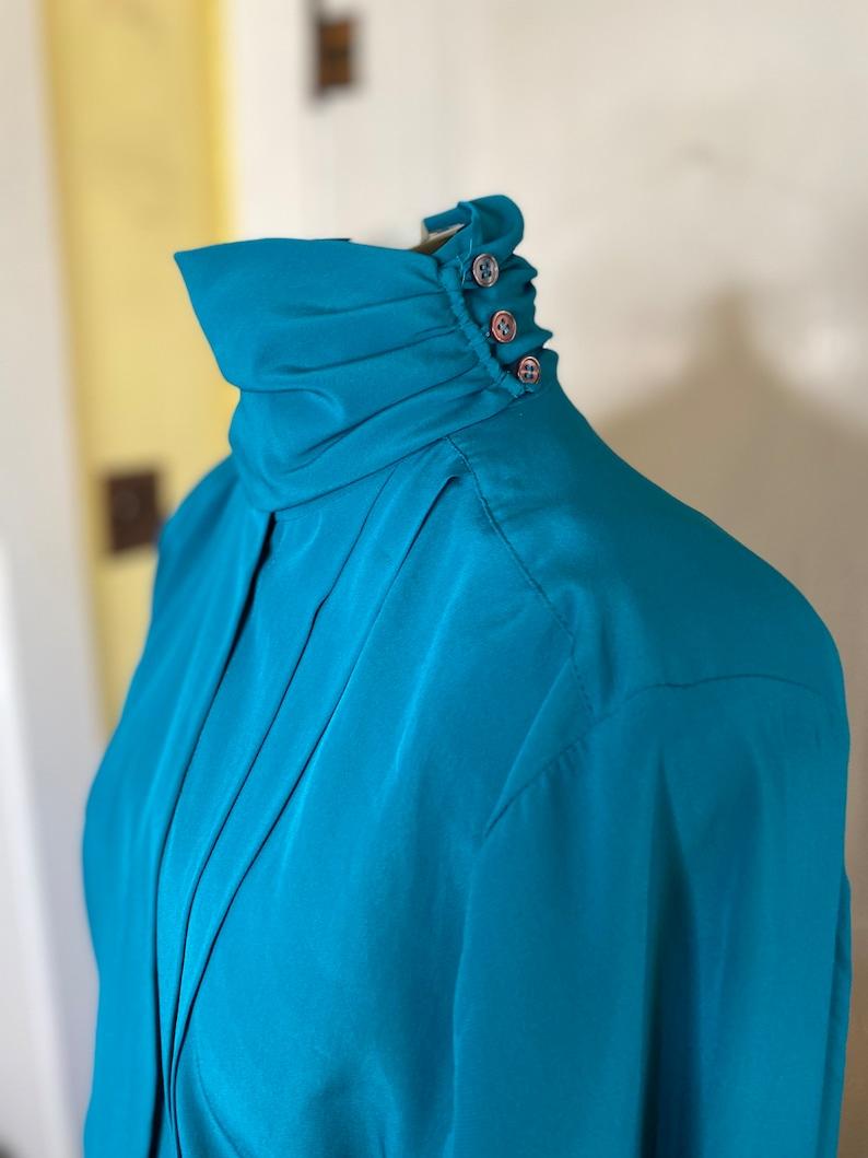 Beautiful teal high neck La Chine Classic blouse