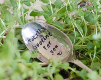 Totally Rooting For You - Hand Stamped Vintage Repotting Spoon - Gardening Gift