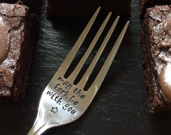 Star Wars 'May The Fork Be With You' Cake Fork and Brownie Gift Set - Star Wars Day - Star Wars Gift - Father's Day Gift