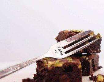 Cake - Hand Stamped Engraved Cake Fork - Vintage Cake Fork - I Love Cake Gift