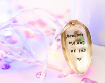 You are my cup of tea - Personalised Keyring Keychain - Hand Stamped Engraved Spoon - Vintage Spoon