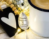 Stressed Blessed and Coffee Obsessed - Hand Stamped Engraved Spoon - Vintage Teaspoon - Coffee Gift