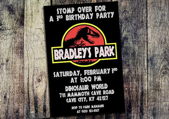 Personalized Jurassic Park Birthday Party Invitation