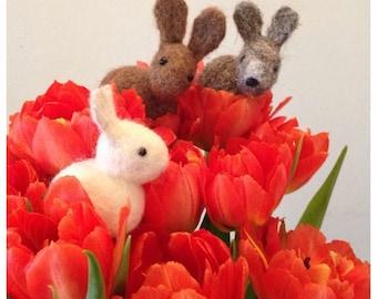 Bunnie needle felting kit  make 2 rabbits great beginners kit