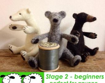 Needle felt kit - Beautiful Bear Needle felting kit - great for beginners and improvers