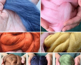 Shetland Top Roving Needle Felt  wet felt various colours 50g
