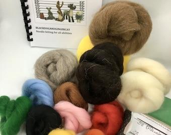 Needle felting starter kit with beautiful British Shetland wool
