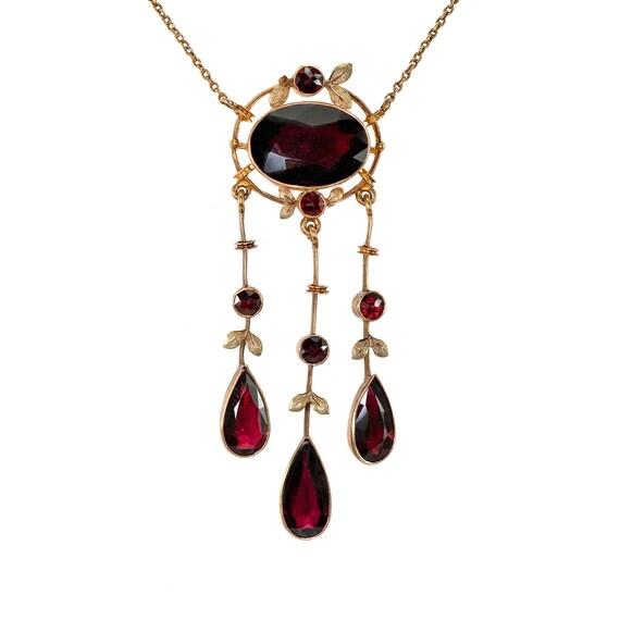 Antique Garnet LAVALIER Necklace Triple Drop   Per