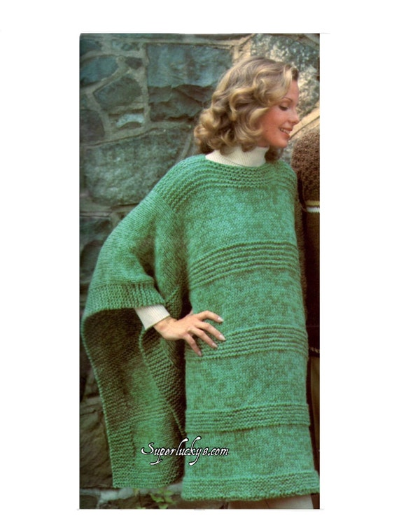 Reprint Vintage Poncho Knitting Patterns In Pdf Instant Etsy