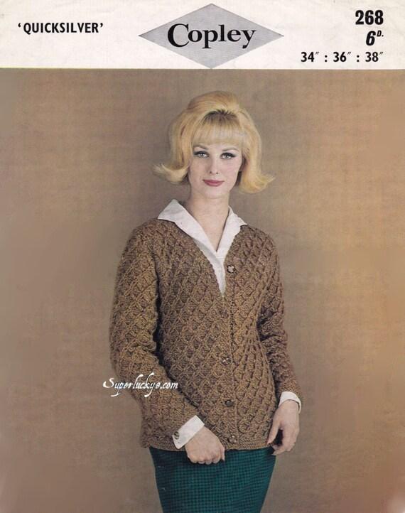 Vintage Cardigan Knitting Pattern In Pdf Instant Download Etsy