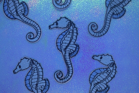 Blue Seahorse Iron on Patch