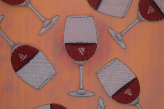 Wine Glass Iron on Patch