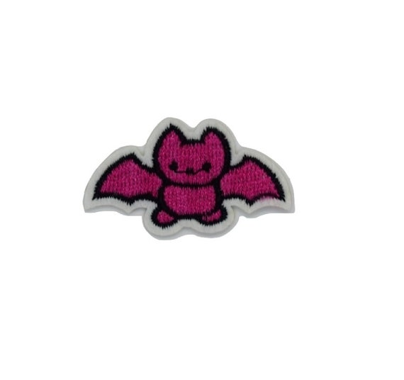 Pink Bat Iron on Patch
