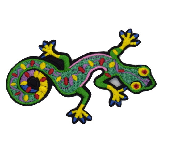 Colourful Lizard Iron on Patch