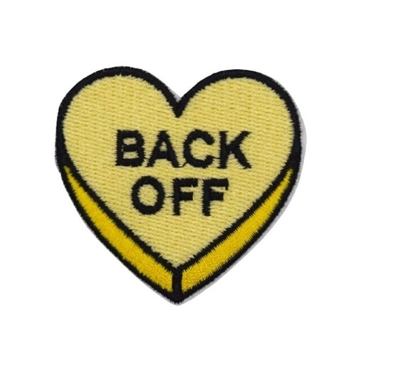 """Yellow """"Back Off"""" Heart Iron on Patch"""