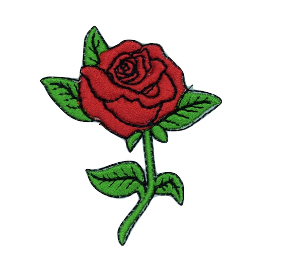 Red Rose Iron on Patch