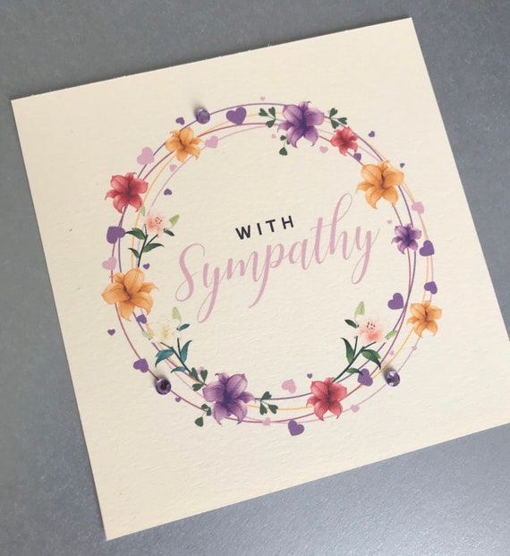 Greeting Stamping Stickers Banner Loss Die cuts Sympathy Card Deepest sympathy Flowers Handmade Grieving Lace Swirls Bling