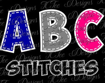 ABC Stitched Alphabet - Letter Set SVG Design Download - Vector Cut File
