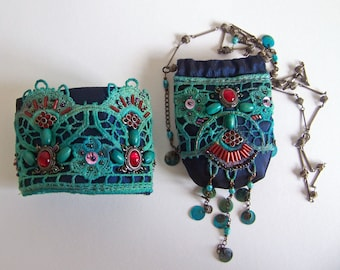Julia ..... Beautifully recycled boho necklace in beautiful turquoise colors.