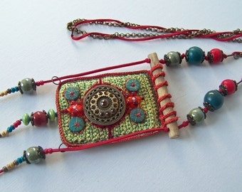 This wonderful bohemian jewelry is crocheted and embroidered and has a very own style.