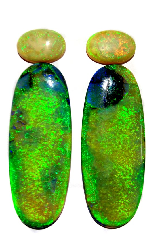 29 Cts Lab Created MonarchSterling Opal Oval Flat Back Cabochon Measuring 24mm x 30mm,4mm Height Cultured Loose Gemstone Earrings Pair.