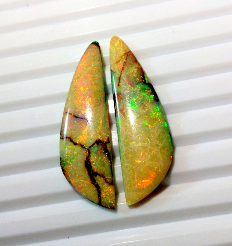 15.40 Ct Lab Created MonarchSterling Opal Fancy Flat Back Cabochon Measuring 12mm x 39mm,4mm Height Cultured Loose Gemstones Earrings Pair