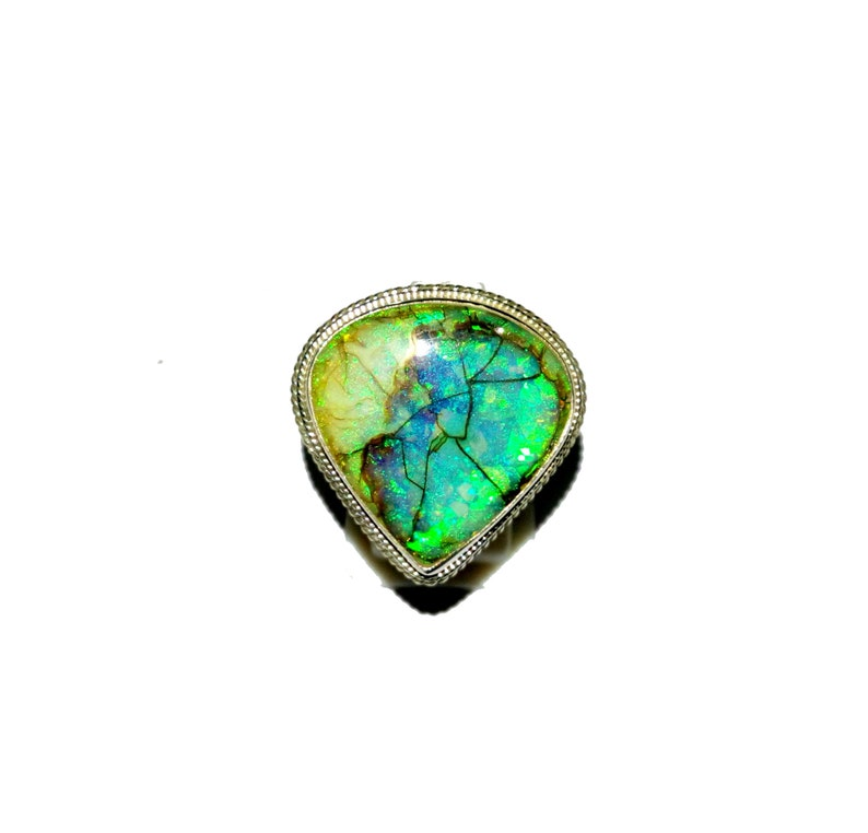 MonarchSterling Opal Heart Cabochon Gemstones Hand Setting 925 Sterling Silver Designer Statement Ring Size-7 Free Shipping