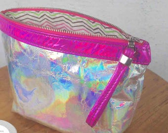 Holographic Leather cosmetic bag, Metallic Leather Gift idea, makeup case, brush bag, pencil case, Leather metallic pouch, toiletry bag