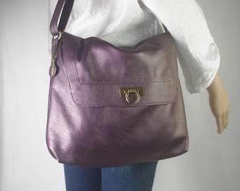 979a8ea83c Purple pearlised leather Bag