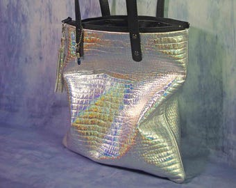 Holographic Leather Bag, snake embossed Leather tote, removable tassel, Metallic Leather Bag, zipper closure, pockets, lined