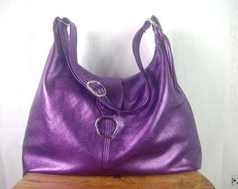 f1558dcc34 Large metallic Purple Italian Hobo