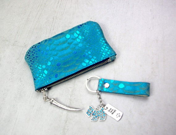 Leather Key fob Mystic snake Print Leather Gift idea Soft  a52c3ad8b