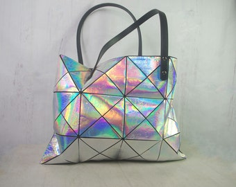 HOLOGRAPHIC Leather Tote, Large leather Bag, holographic leather, Metallic Leather Bag, Large Tote Bag
