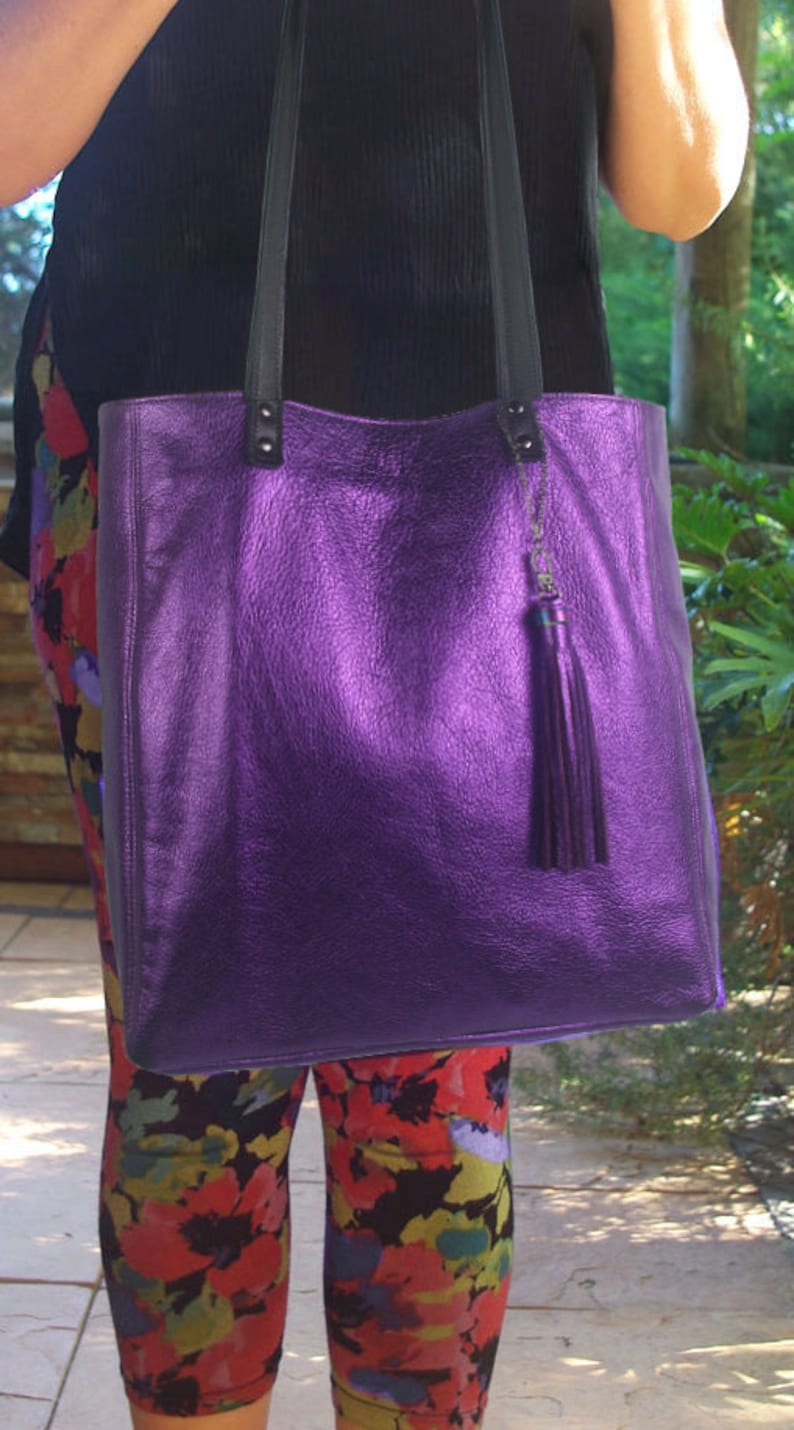 Soft purple leather lining options magnet closure 2 sizes Leather Tote leather zipper pocket /& purse Metallic purple key clasp