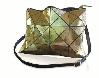 Gold Leather Crossbody or Tote Bag, Leather Handbag, Leather Bag, Women Tote Bag, fashion Leather Bag, Gold Foil, metallic gold leather bag