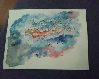 Wild swimming dream, original watercolour