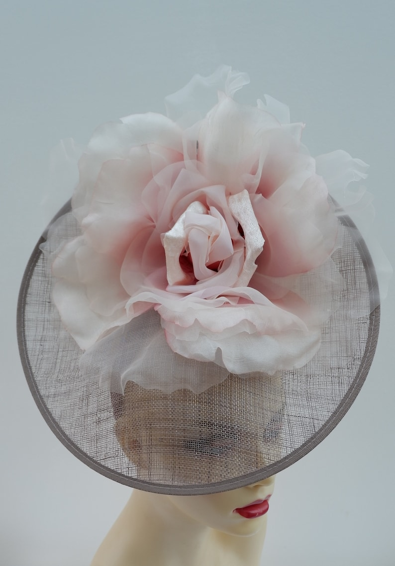 TaupePraline Fascinator with 12 Pale pink organza flower  by Hats2go