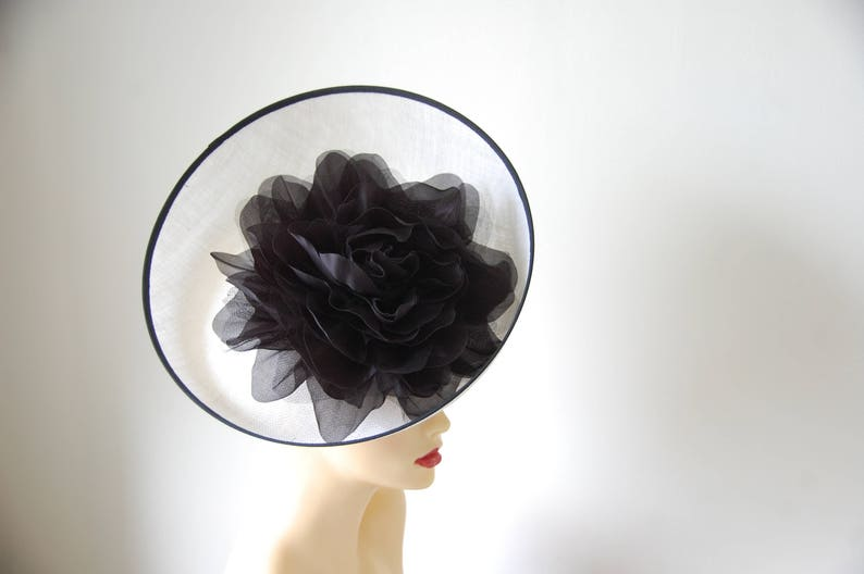 White /& Black Feature fascinator on hairband Made to order