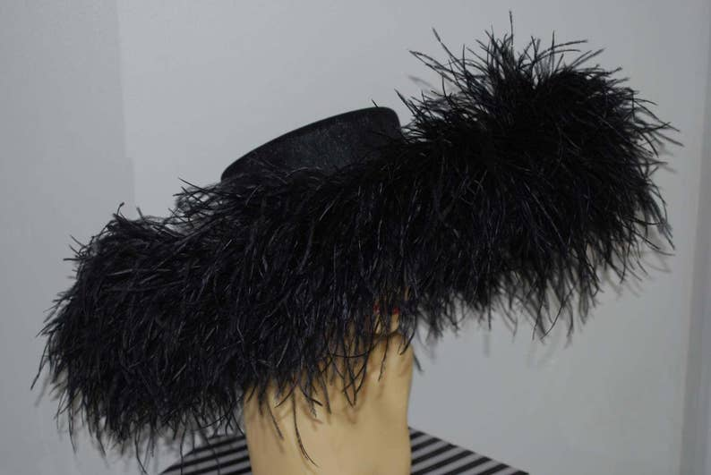 Extra large Hat with Ostrich feather boa in Black By Hats2go