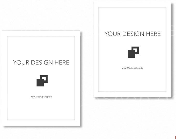 WHITE FRAME MOCKUP / 8x10 / Set of 2 / Frame Mockup /  White Photo Frame Mockup / Instand Download / Frame Stockphoto / Mock Up Frame