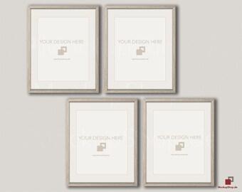 Download Free Wood MOCKUP FRAME 24x30 / Set of 4 Frames / vertical Frame / beige wall / Old Vintage Frame Mockup / Vintage nordic style / Empty Mockup PSD Template