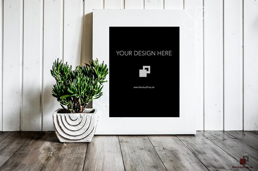 11 x 14 Rahmen MOCKUP weißen Rahmen mit einer grünen Blume auf | Etsy